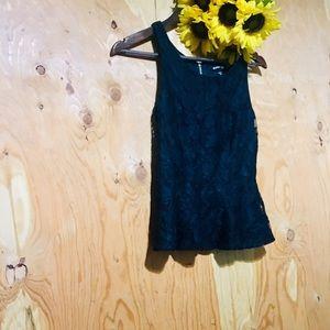 EXPRESS Black Floral Lace Peplum Tank XS (0-2)